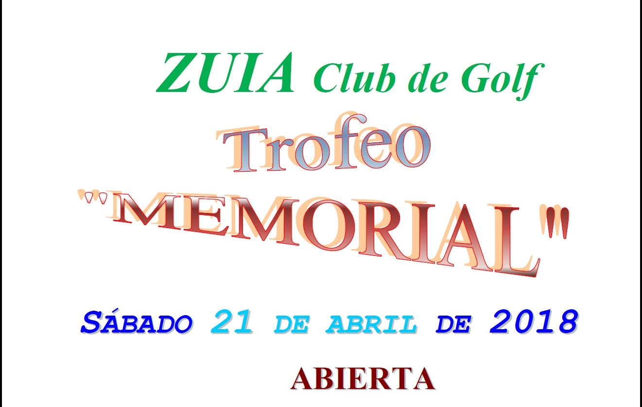 Trofeo Memorial abierto: sábado 21-abril