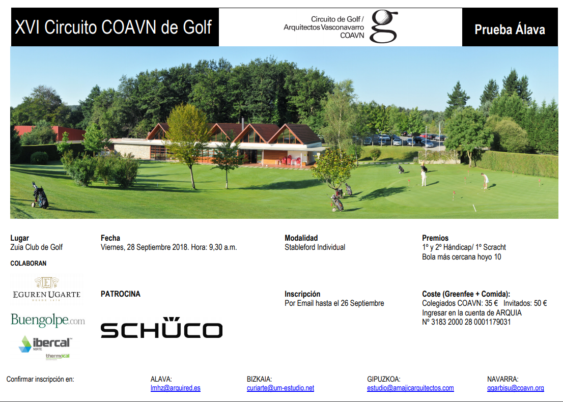 Viernes 28-sept: XVI Circuito COAVIN de Golf en Zuia