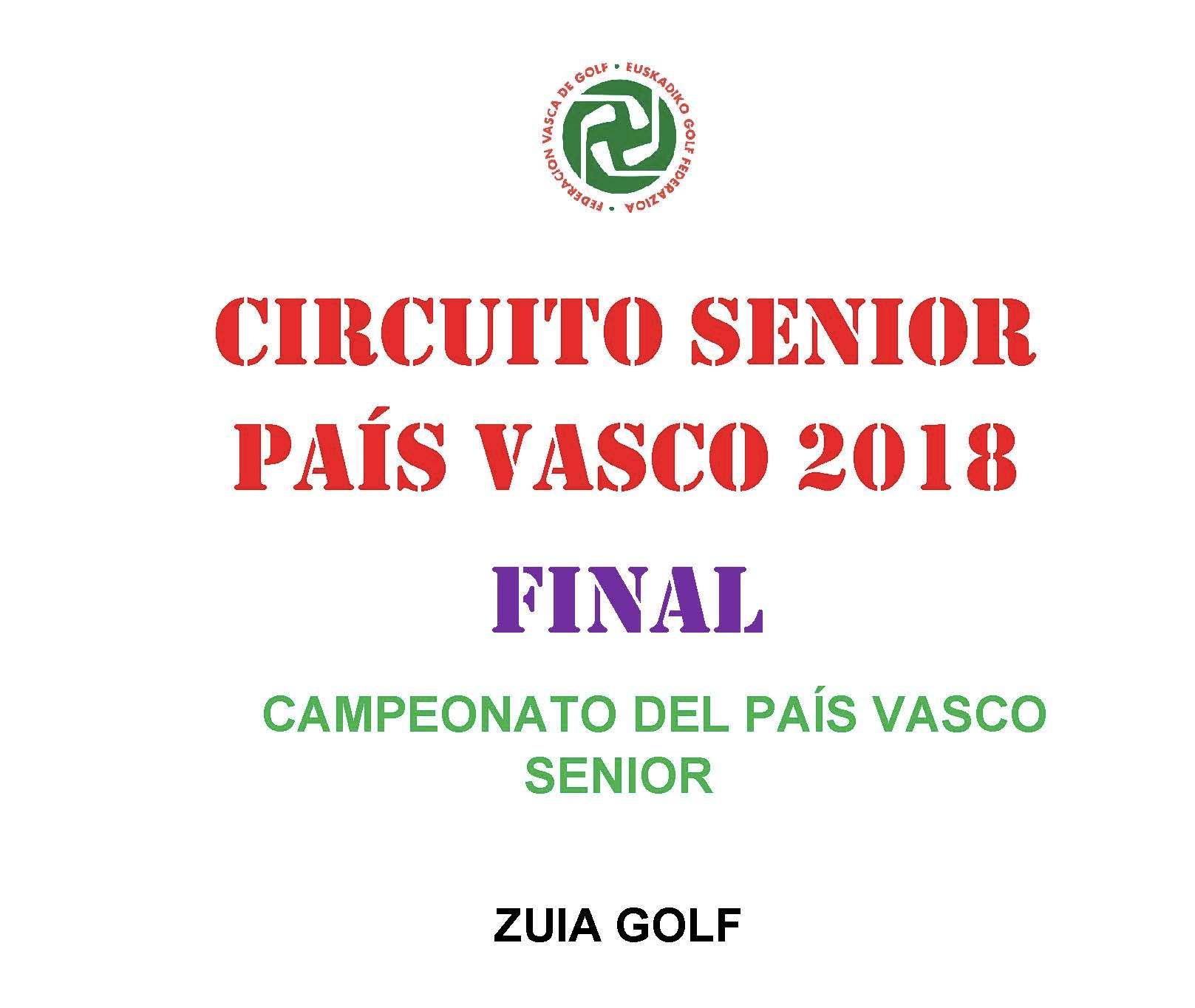Aplazado al sábado 10-nov: Campeonato Senior País Vasco en Zuia.