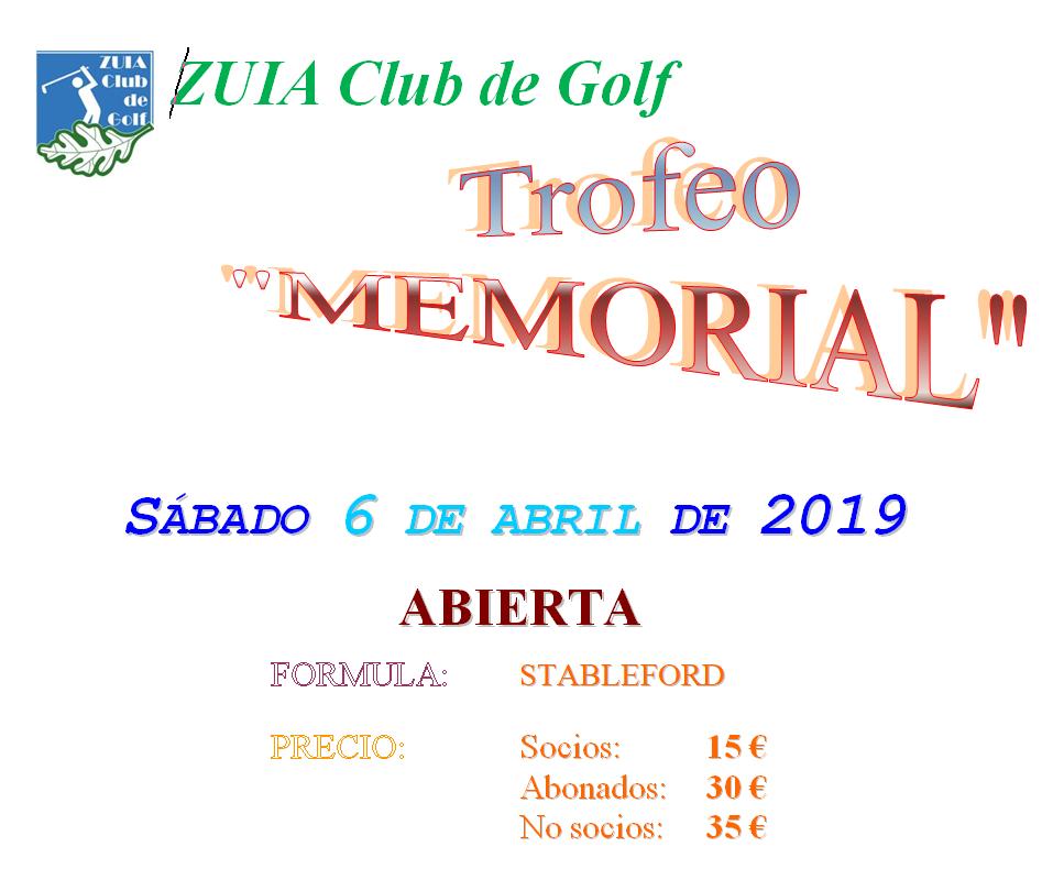 Sábado 6-abril: Trofeo Memorial. Abierto