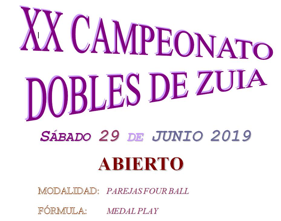 29-junio: XX Campeonato de dobles de Zuia. Abierto