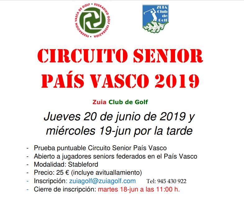 Miércoles 19-jun por la tarde y Jueves 20-jun por la mañana: Puntuable Seniors País Vasco