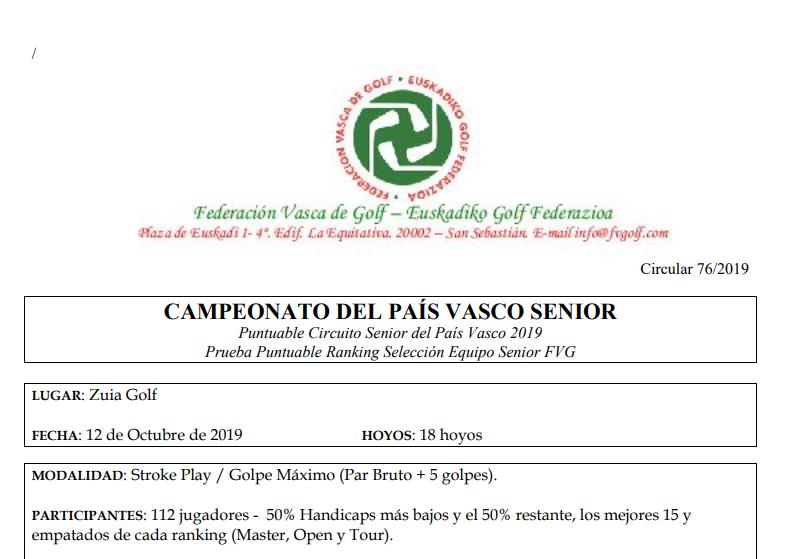 Sábado 12-oct-2019: Campeonato Senior País Vasco