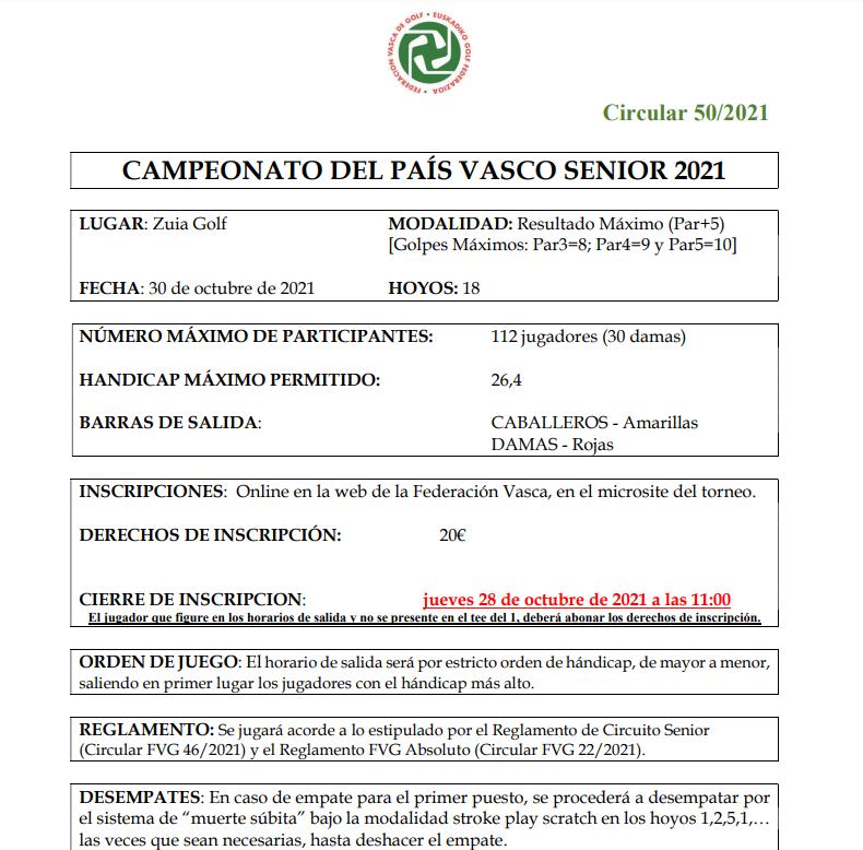 Sábado 30-oct-2021: CAMPEONATO SENIOR PAIS VASCO 2021